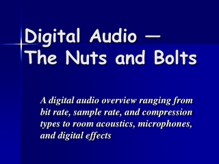Digital Audio — The Nuts and Bolts