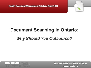 Document Scanning in Ontario:  Why Should You Outsource?