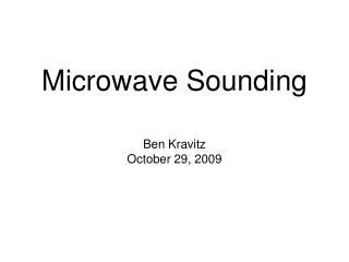 Microwave Sounding