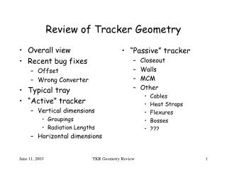 Review of Tracker Geometry