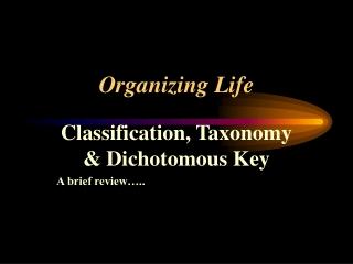 Organizing Life