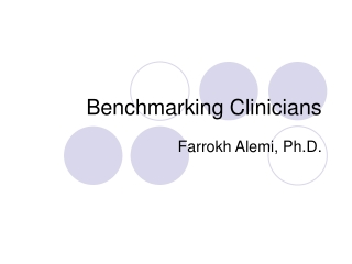 Benchmarking Clinicians