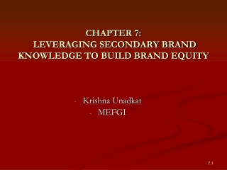 CHAPTER 7:  LEVERAGING SECONDARY BRAND KNOWLEDGE TO BUILD BRAND EQUITY