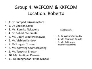 Group 4: WEFCOM & KKFCOM Location: Roberto