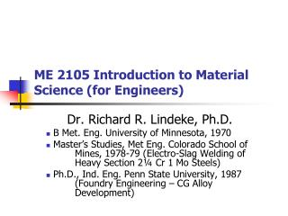 ME 2105 Introduction to Material Science (for Engineers)