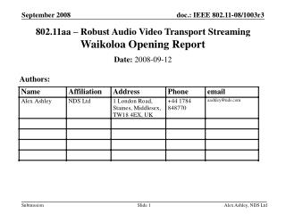 802.11aa – Robust Audio Video Transport Streaming  Waikoloa  Opening Report