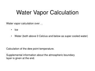 Water Vapor Calculation