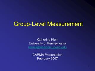 Group-Level Measurement