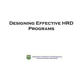 Designing Effective HRD Programs