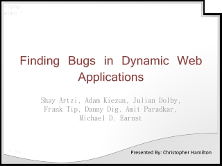 Finding Bugs in Dynamic Web Applications
