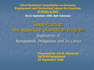 Good Practice:  Pre-departure Orientation Program