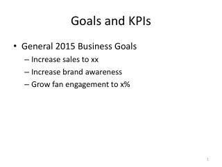 Goals and KPIs