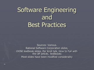 Software Engineering  and Best Practices
