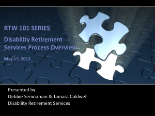RTW 101 SERIES Disability Retirement Services  Process Overview May 15, 2013