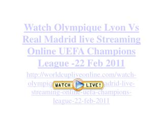 Real Madrid vs Olympique Lyon live Streaming Online UEFA Cha