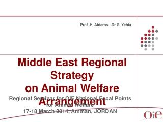 Middle East Regional Strategy  on Animal Welfare Arrangement