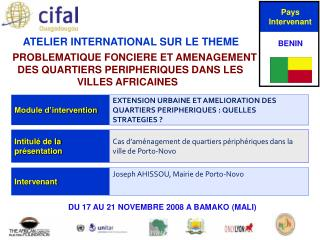 ATELIER INTERNATIONAL SUR LE THEME