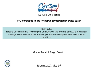 WP3 Variations in the terrestrial component of water cycle