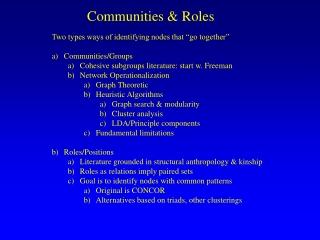 Communities & Roles