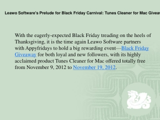 Leawo Software's Prelude for Black Friday