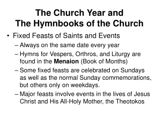 The Church Year and The Hymnbooks of the Church