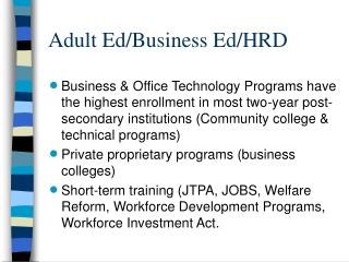 Adult Ed/Business Ed/HRD