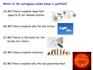 Which of the outrageous claims below is justified? (A) MO theory explains important