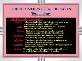 TUBULOINTERSTITIAL DISEASES Terminology