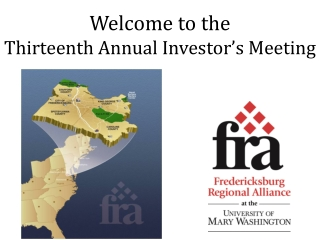 Welcome to the Thirteenth Annual Investor's Meeting