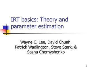IRT basics: Theory and parameter estimation