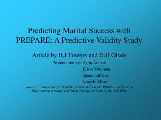 Predicting Marital Success with PREPARE: A Predictive Validity Study