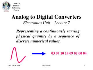 Analog to Digital Converters Electronics Unit – Lecture 7