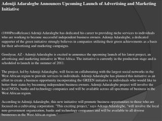 Adeniji Adaralegbe Announces Upcoming Launch of Advertising