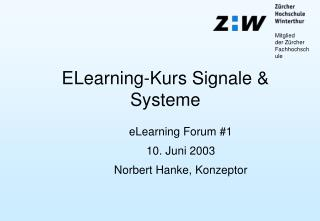 ELearning-Kurs Signale & Systeme