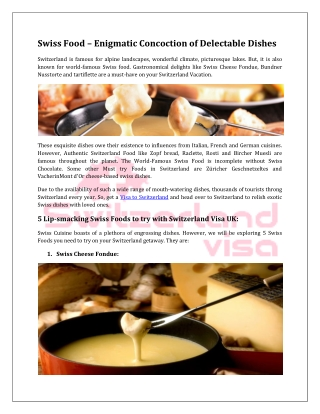 Swiss Food – Enigmatic Concoction of Delectable Dishes