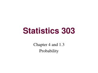 Statistics 303