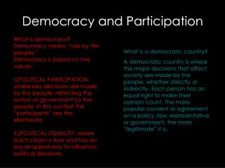 Democracy and Participation