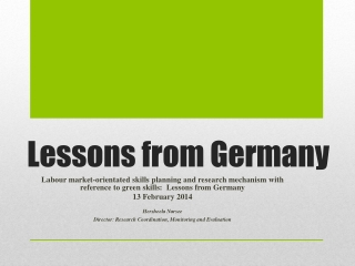 Lessons from Germany