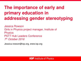 The importance of early and primary education in addressing gender stereotyping