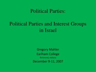 Political Parties: Political Parties and Interest Groups in Israel