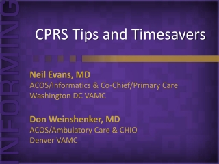 CPRS Tips and Timesavers