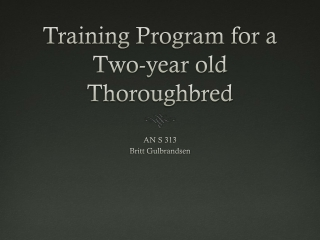 Training program for a two-year old thoroughbred