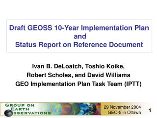 Draft GEOSS 10-Year Implementation Plan   and Status Report on Reference Document
