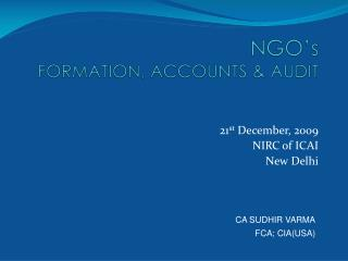 NGO's  FORMATION, ACCOUNTS & AUDIT