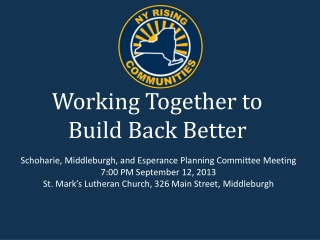 Working Together to Build Back Better