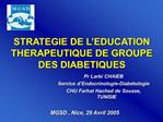 STRATEGIE DE L EDUCATION THERAPEUTIQUE DE GROUPE DES DIABETIQUES