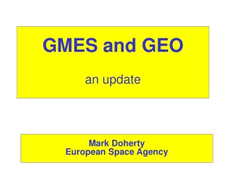 GMES and GEO an update