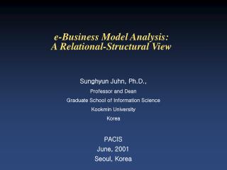 e-Business Model Analysis:  A Relational-Structural View