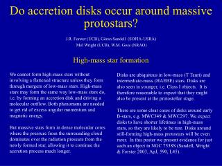 Do accretion disks occur around massive protostars?