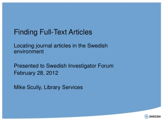 Finding Full-Text Articles